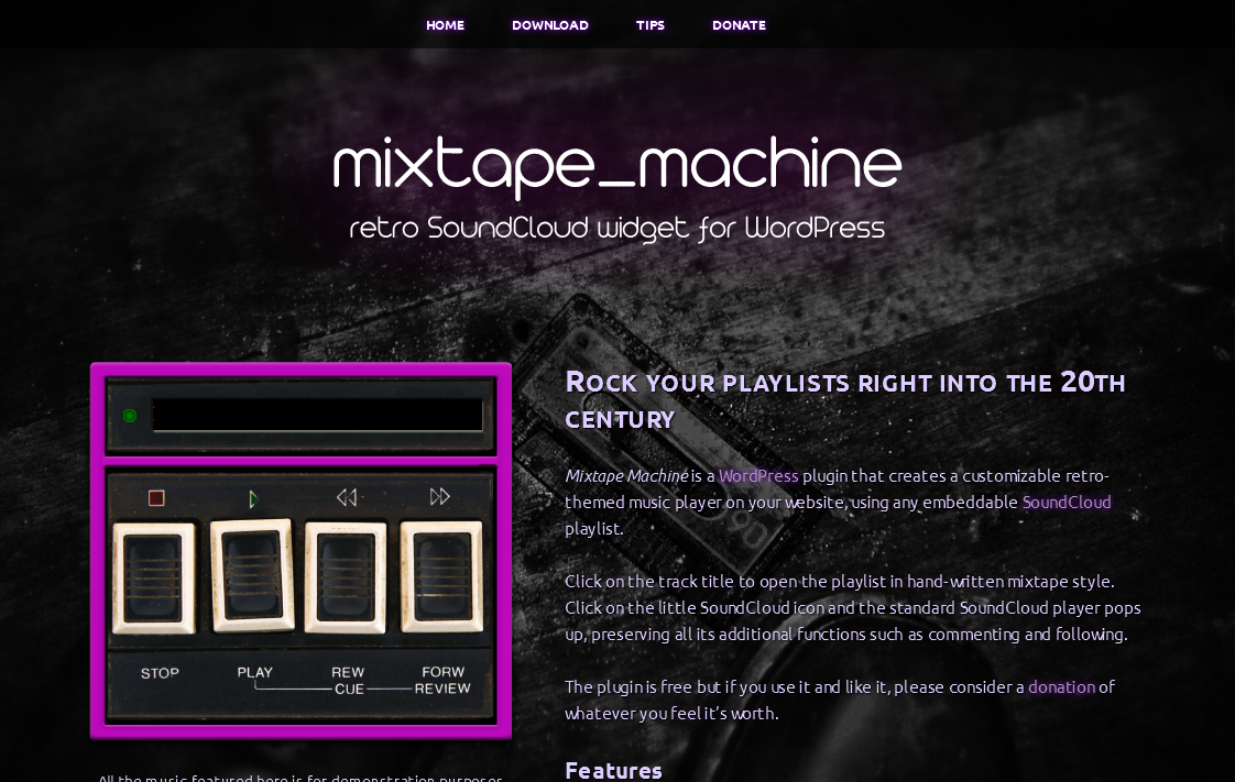 FireShot Screen Capture #148 - 'Mixtape Machine I Retro SoundCloud widget for WordPress' - www_mixtapemachine_com
